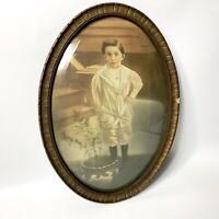 Antique Vintage Wood Oval Frame Convex Bubble Glass Picture Portrait Young Boy