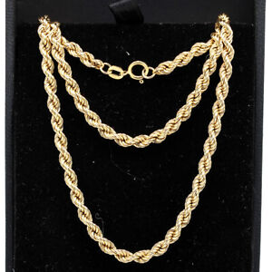 Long 9ct Gold Rope Chain Necklace 22'' 4mm