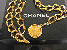 "AUTHENTIC CHANEL CC 31 RUE CAMBON MEDALLION 28"" GOLDTONE CHAIN BELT + BOX"