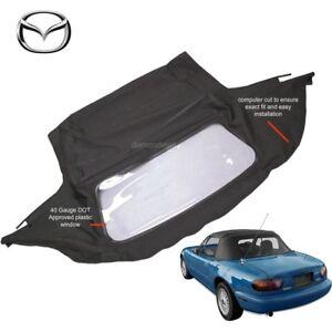 Mazda Miata Convertible Soft Top & Plastic Window 1990-2005 Black Cabrio