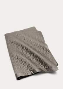 Ralph Lauren Greenwich  Queen Coverlet Geo Quilted Met Gray Cotton Sateen-New