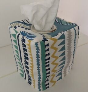 CONTEMPORARY TEAL FUNKY STRIPE PRINT FABRIC TISSUE BOX COVER  EYELET OPENING