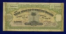 British West Africa 10 Shillings 1941 P7B  Banknote BRITISH COLONIAL FINE(-)ES-1