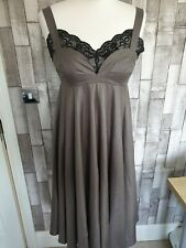 Topshop Unique Taupe Dress Sweetheart Neckline Lace Detail Size 10 Steampunk