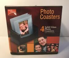 NEW - SARAH PEYTON HOME, 4 SOLID GLASS PHOTO COASTERS WITH WOOD HOLDER