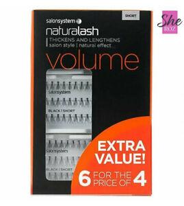 Salon System Naturalash Individual Eyelashes Eye Lashes Black 6 for 4 SHORT