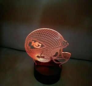 Kansas City Chiefs Multi Color LED Helmet 3D Lamp Night Light Man Cave Mahomes