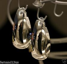 Fashion, .925 Silver Large Egg Shape Earrings, Clip-On, Hoop. No Stone