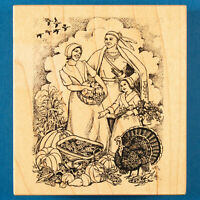 PSX Thanksgiving Scene Rubber Stamp K-2192 Pilgrims & Native American Indian