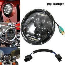 7 inch Round LED Headlight H4 DRL Hi/Lo Fit 97-18 Jeep Wrangler CJ TJ JK Harley.