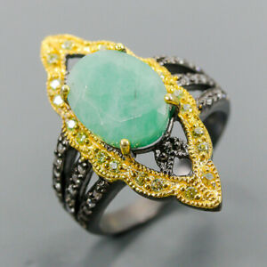 Jewelry Handmade Emerald Ring Silver 925 Sterling  Size 8 /R164139