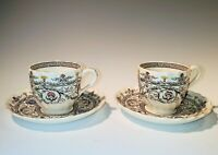 2 Copeland Spode FLORENCE Flat Demitasse Cups and Saucers, 1937-72, VG Condition