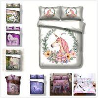 3D Unicorn Horse Quilt Cover Set Soft Bedding Duvet Cover Set Pillow Sham 3PCS