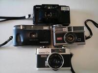 4 Camera Lot Konica C35 Olympus Trip100 Kodak 404 Ricoh FF3AZ 35MM Vintage Film