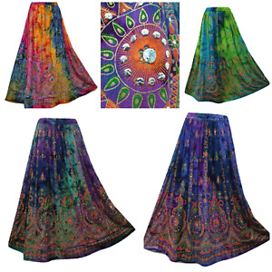 Tie Dye Maxi Skirt Hand Embroidered Sequin Party Dress 8 10 12 14 16 18 20 22 24