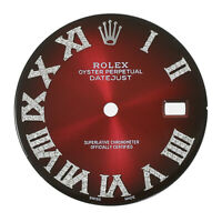 Diamond Roman Numeral Dial for Rolex Datejust Red Vignette 36mm - Real Diamonds