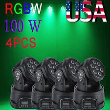 4PCS 100W RGBW LED Moving Head Beam Lights DMX512 Stage Lighting Party DJ Light