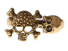 Golden Tone Alloy Death Bone & Skulls Head Scary Deadly Two Fingers Custom Ring