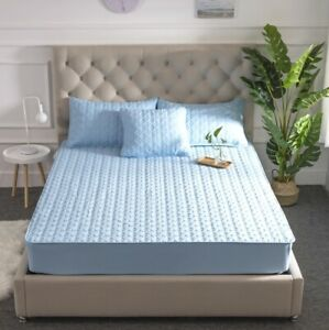 EMBOSSED QUILTED MATTRESS COVER Breathable Solid Color Fitted Bed Protector