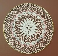 Pink Accents Crochet Doily Wall Hanging Dream Catcher in 14 inch Gold Ring, New