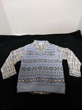 Boys Janie and Jack Paid Button Down Shirt + Snowflake Vest Holiday Euc Sz 3T
