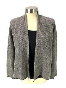 EILEEN FISHER Womens Open Cardigan Sweater Size S Petite Black Ivory