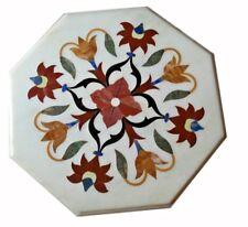 "12"" Marble corner Table Top Marquetry floral precious stones inlay home Decor"