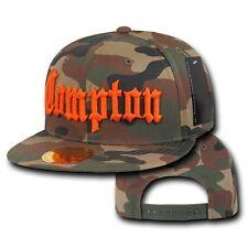 Compton Camo & Orange Embroidered Hip Hop Flat Bill Snapback Snap Back Cap Hat