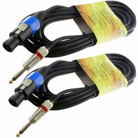 2 PRO audio speakon compatible to 1/4 25FT foot SPEAKER CABLES 16GA GAUGE WIRE