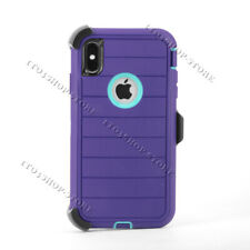 Defender Pro iPhone XS Max Shockproof Hard Case w/Belt Clip - Purple / Teal