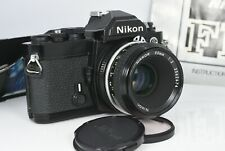 Nikon FM Black 35mm SLR Film Camera Body &  NIKKOR 1:2 50mm AI Lens tested Nice