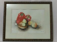 Kitchen vegetable Watercolor Painting framed Food Signed 1994
