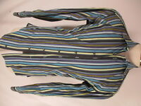 Etro Mens Multicolor Stripe Long Sleeve Cotton Shirt size 42 L Italy Made