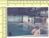 #021 1980s Pool Scene, Diving Jump Motion Abstract Guy Man People old photo