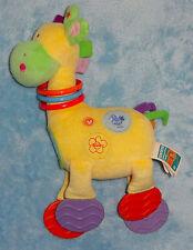 Kids Preferred Plush Giraffe Baby Rattle Teether Feet Toy Yellow Green Mirror