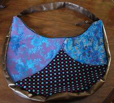 Vintage Large Shoulder Bag Triple Tapestry Purple Blue Bronze Soft Vinyl Strap