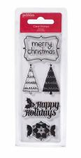 American Crafts Clear Stamps Set ~ Pebbles ~ WELCOME CHRISTMAS ~ 5ct ~ 747149