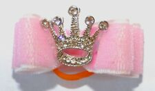 Dog Hair Bow Rhinestone Crown Pink -Pet Puppy Grooming Hair Tie Accessory Bling
