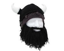 Wikinger Winter Mütze mit kurzem schwarzem Bart