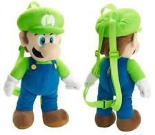 "LUIGI PLUSH BACKPACK! GREEN SUPER MARIO BROS SOFT DOLL FIGURE BAG 18-19"" NWT"