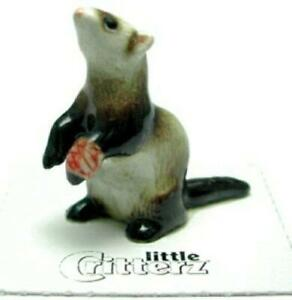 """Little Critterz Miniature Porcelain Animal Figure Rescue Ferret """"Polecat"""" LC610"""
