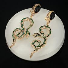 earrings CLIP ON NON PIERCED Snake Long Pearl Enamel Green Black QD2