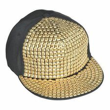 Mens Hip Hop Bling Hat Hood Rapper Gold Stud Front Womens Fancy Dress Novelty BN