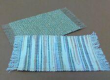Dollhouse Miniature -2 small self fringed rug  tan, green +multi stripe tan,blue