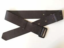 Costume National Espresso Brown Wide Stitched Leather Covered Buckle Belt S-M