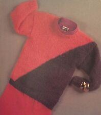 "FCl7 - Knitting Pattern - Easy Knit Mohair Diagonal Jumper - Sizes 30-40"""