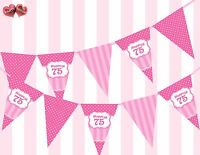 Perfect Pink Happy 75th Birthday Vintage Polka Dots Stripes Theme Bunting Banner