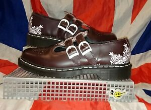 Rare*Oxblood White Lace Dr Doc Martens Mary Jane Shoes*T Bar Punk Skin Goth*UK 7
