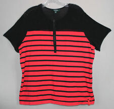 LAUREN RALPH LAUREN 3X 95% Cotton 5% Spandex Short Sleeve Pullover Zip Front Top