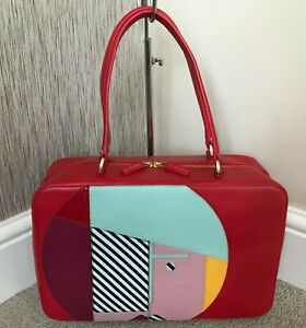 LULU GUINNESS RED LEATHER ABSRACT FACE TOTE TRAVEL BAG......VERY RARE!!!!